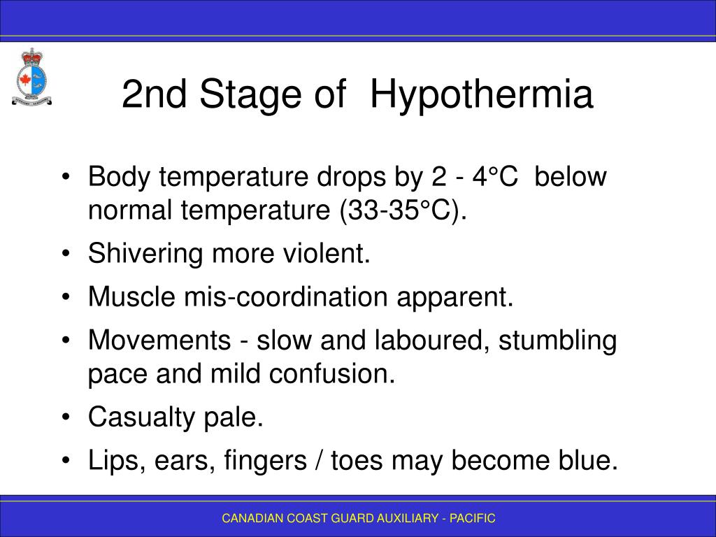 2nd Stage of  Hypothermia
