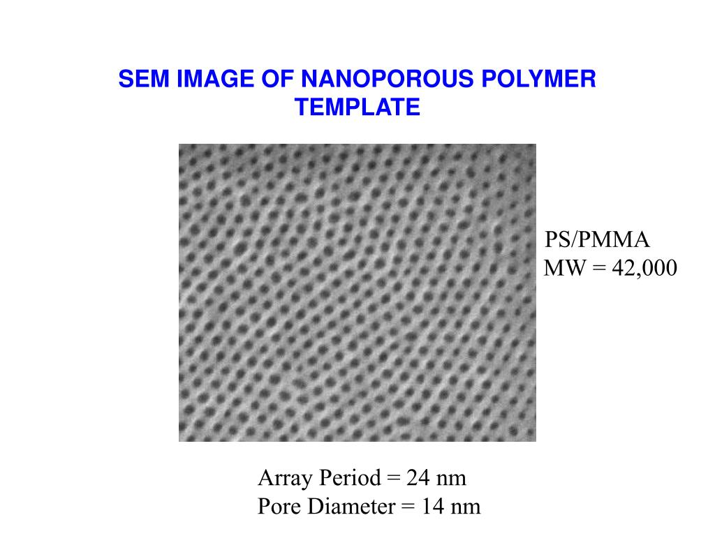 SEM IMAGE OF NANOPOROUS POLYMER TEMPLATE