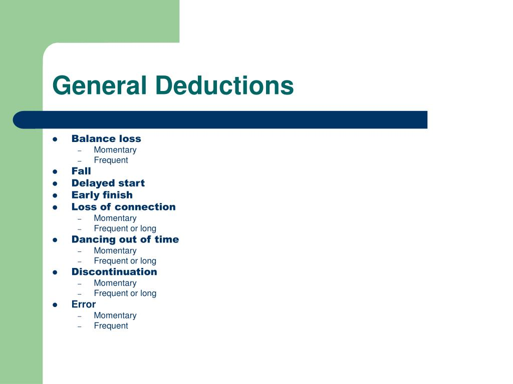 General Deductions