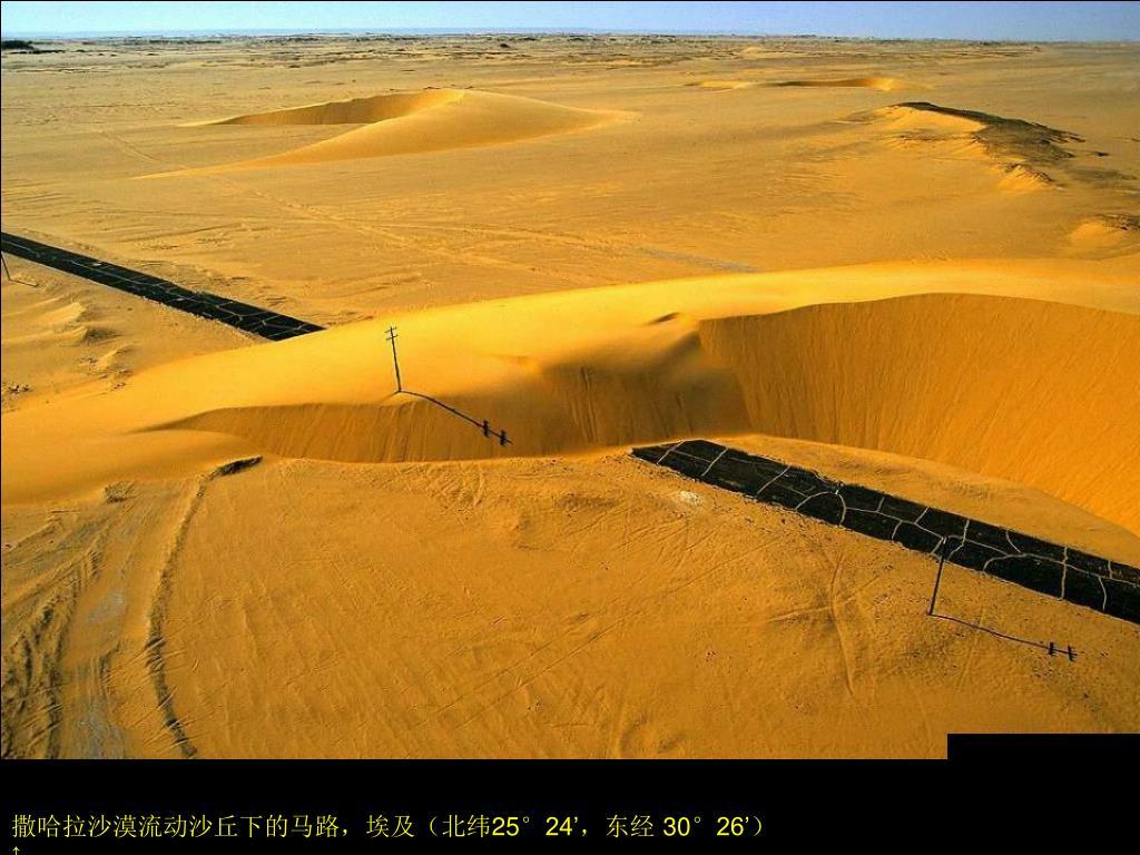 撒哈拉沙漠流动沙丘下的马路,埃及(北纬