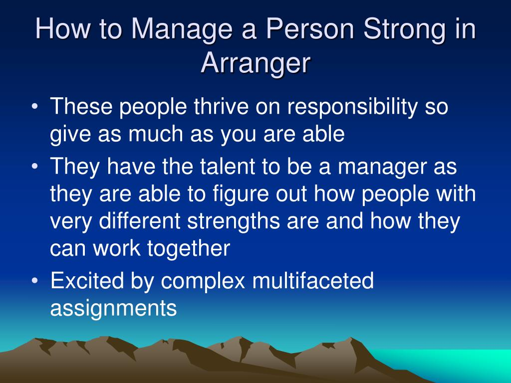 How to Manage a Person Strong in Arranger