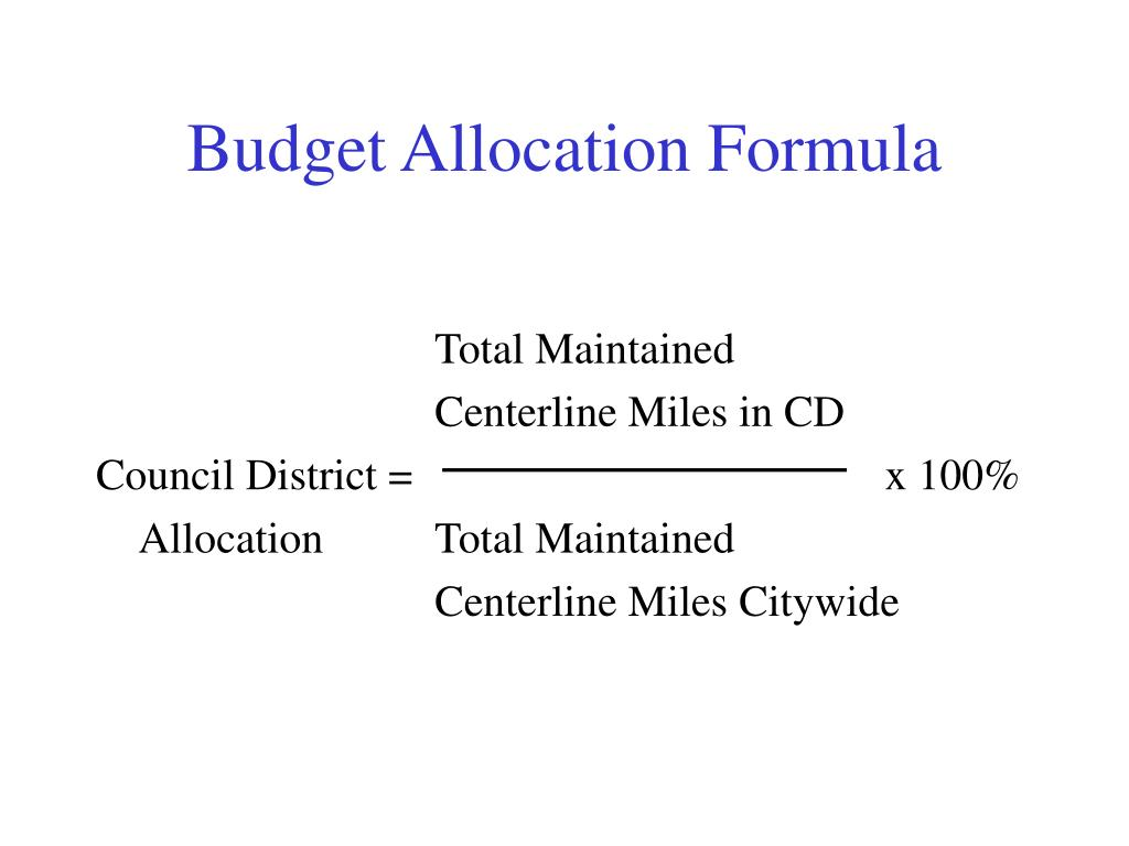 Budget Allocation Formula