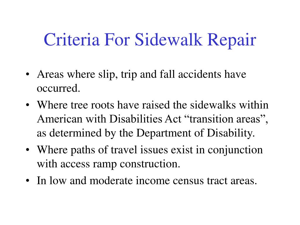 Criteria For Sidewalk Repair