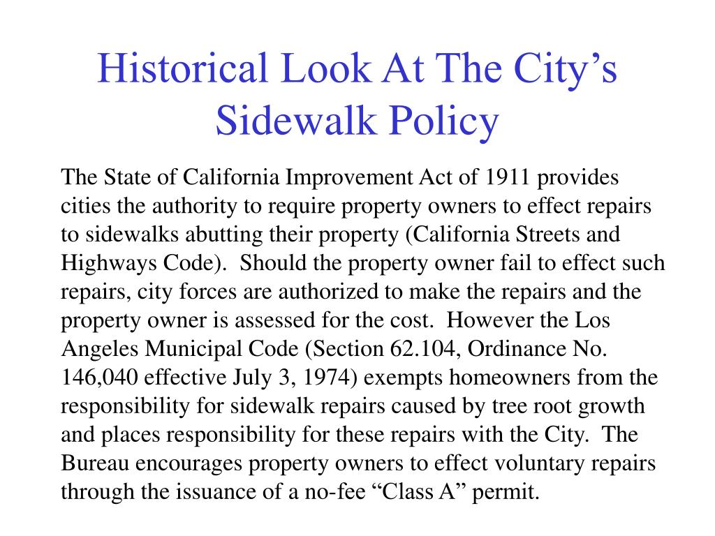 Historical Look At The City's Sidewalk Policy