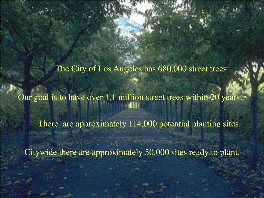 The City of Los Angeles has 680,000 street trees.