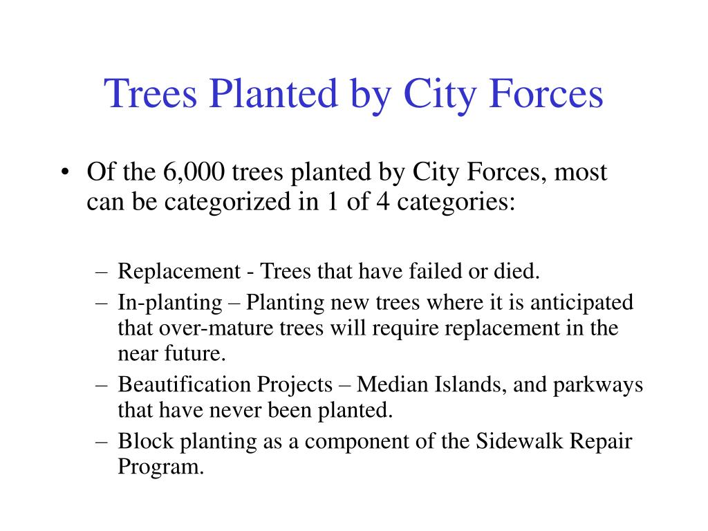 Trees Planted by City Forces