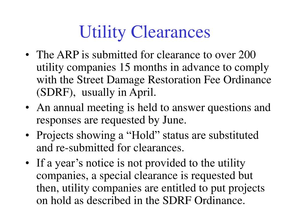 Utility Clearances
