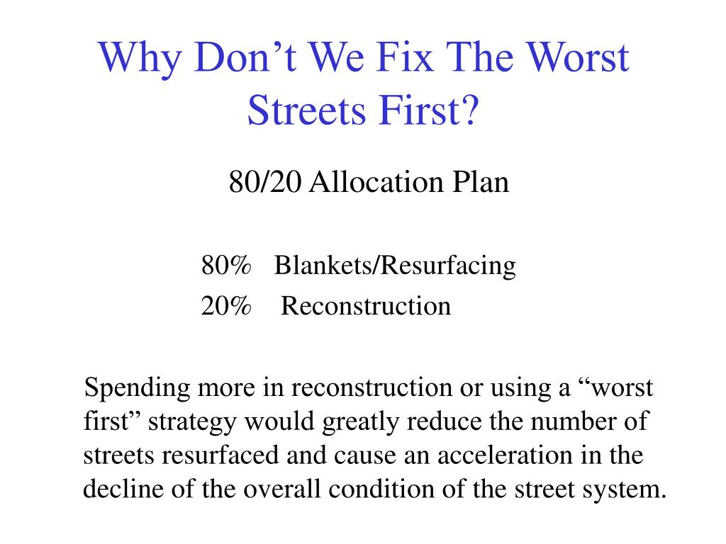 Why Don't We Fix The Worst Streets First?