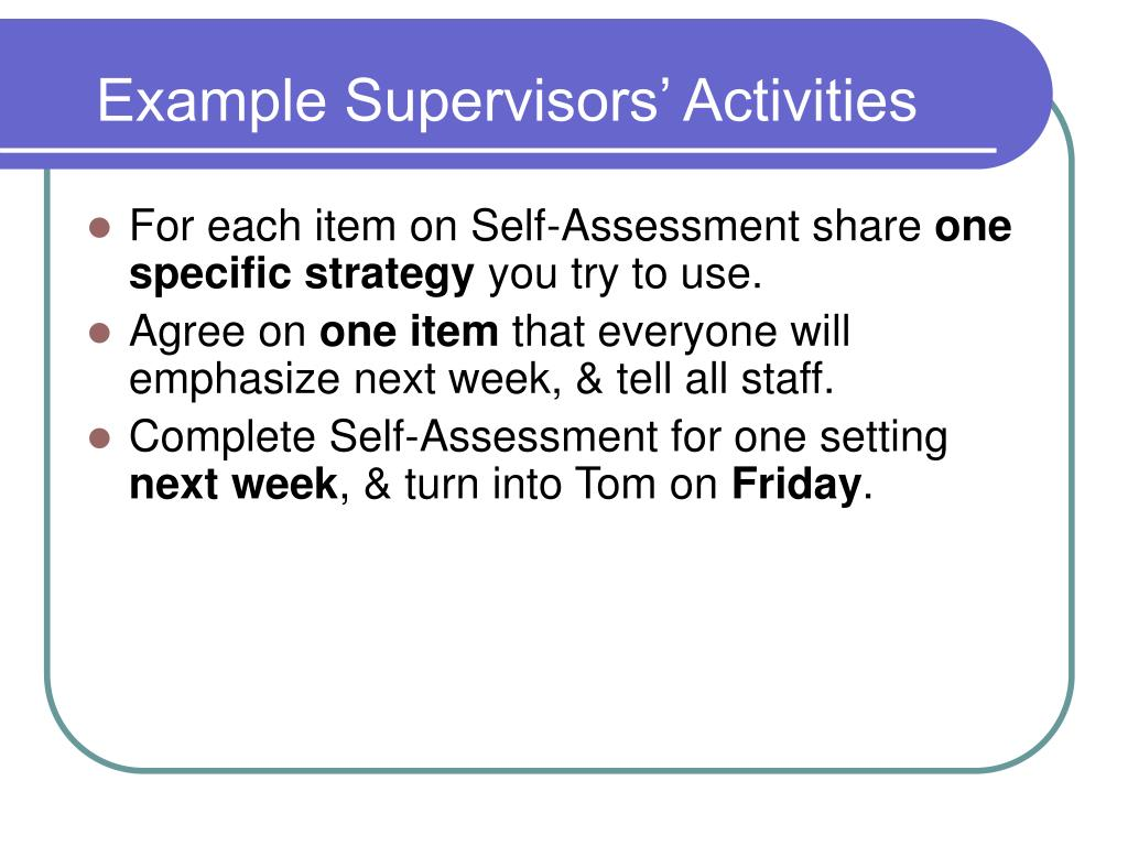 Example Supervisors' Activities