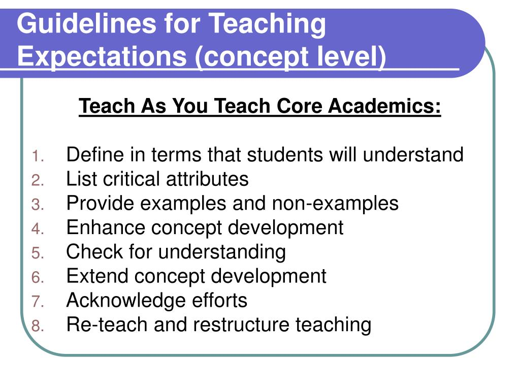 Guidelines for Teaching Expectations (concept level)