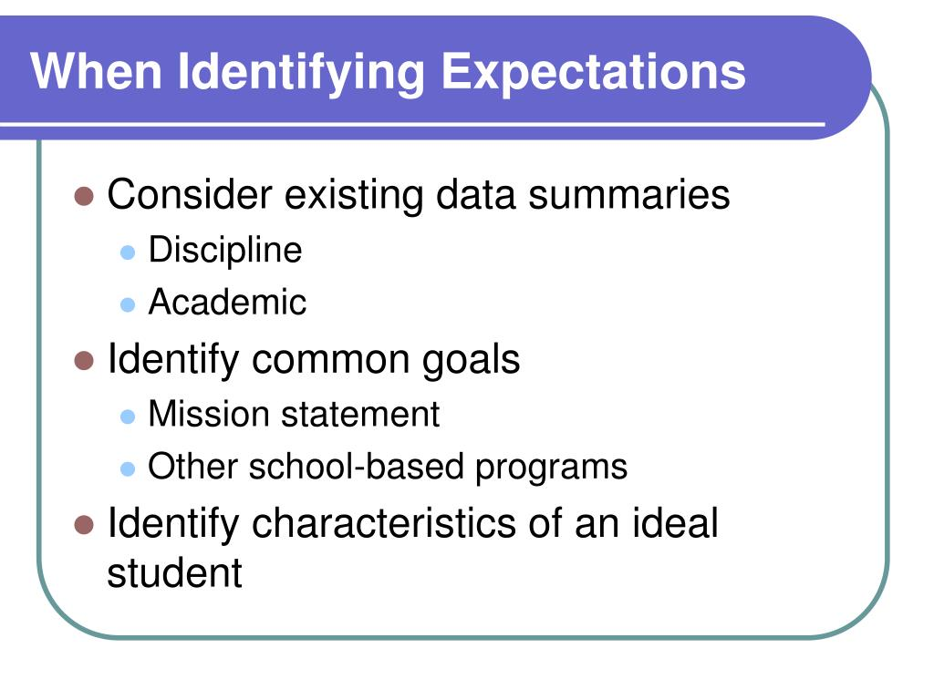 When Identifying Expectations