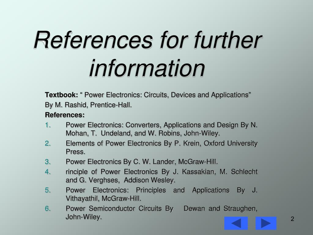 References for further information