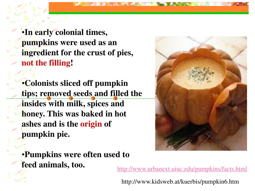 In early colonial times, pumpkins were used as an ingredient for the crust of pies,