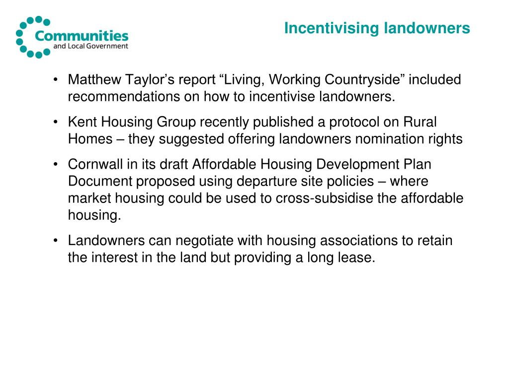 Incentivising landowners