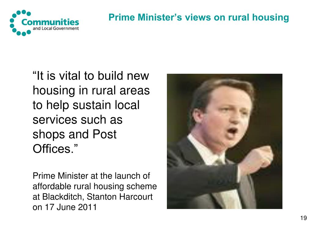 Prime Minister's views on rural housing