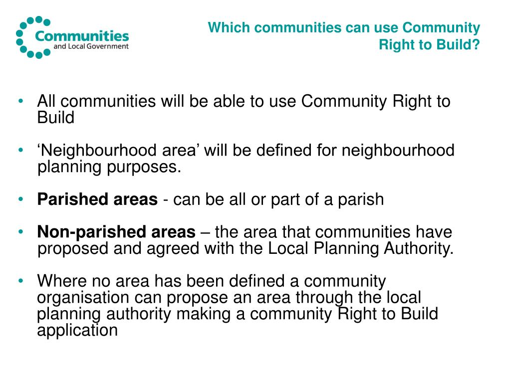 Which communities can use Community Right to Build?