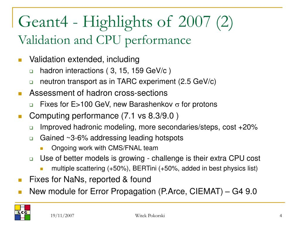 Geant4 - Highlights of 2007 (2)