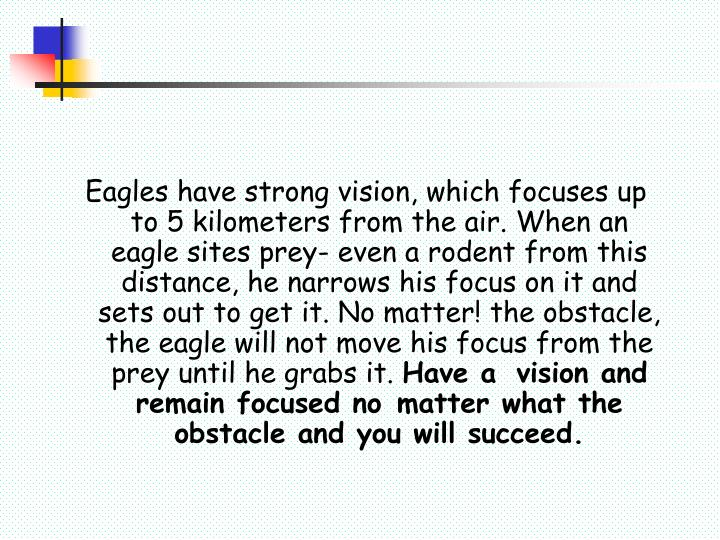 Eagles have strong vision, which focuses up to 5 kilometers from the air. When an eagle sites prey- ...