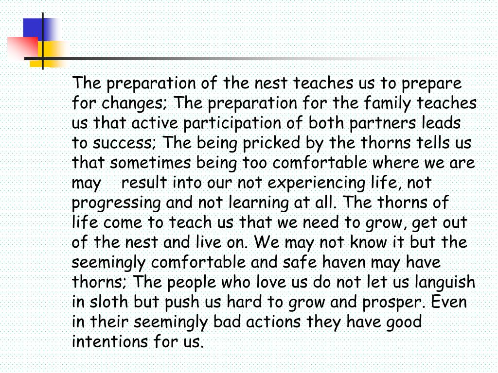 The preparation of the nest teaches us to prepare for changes; The preparation for the family teaches us that active participation of both partners leads to success; The being pricked by the thorns tells us that sometimes being too comfortable where we are may 	result into our not experiencing life, not progressing and not learning at all. The thorns of life come to teach us that we need to grow, get out of the nest and live on. We may not know it but the seemingly comfortable and safe haven may have thorns; The people who love us do not let us languish in sloth but push us hard to grow and prosper. Even in their seemingly bad actions they have good intentions for us.