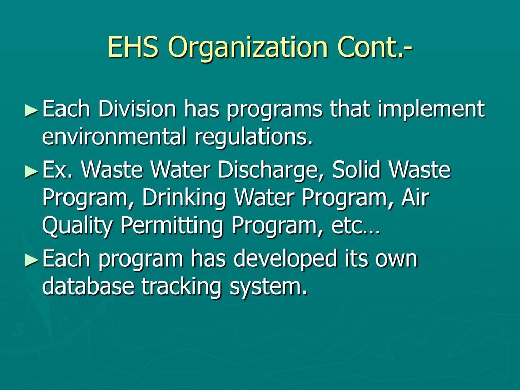 EHS Organization Cont.-