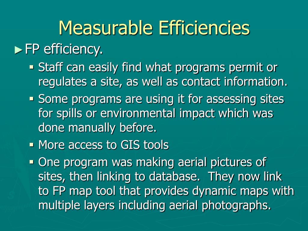 Measurable Efficiencies