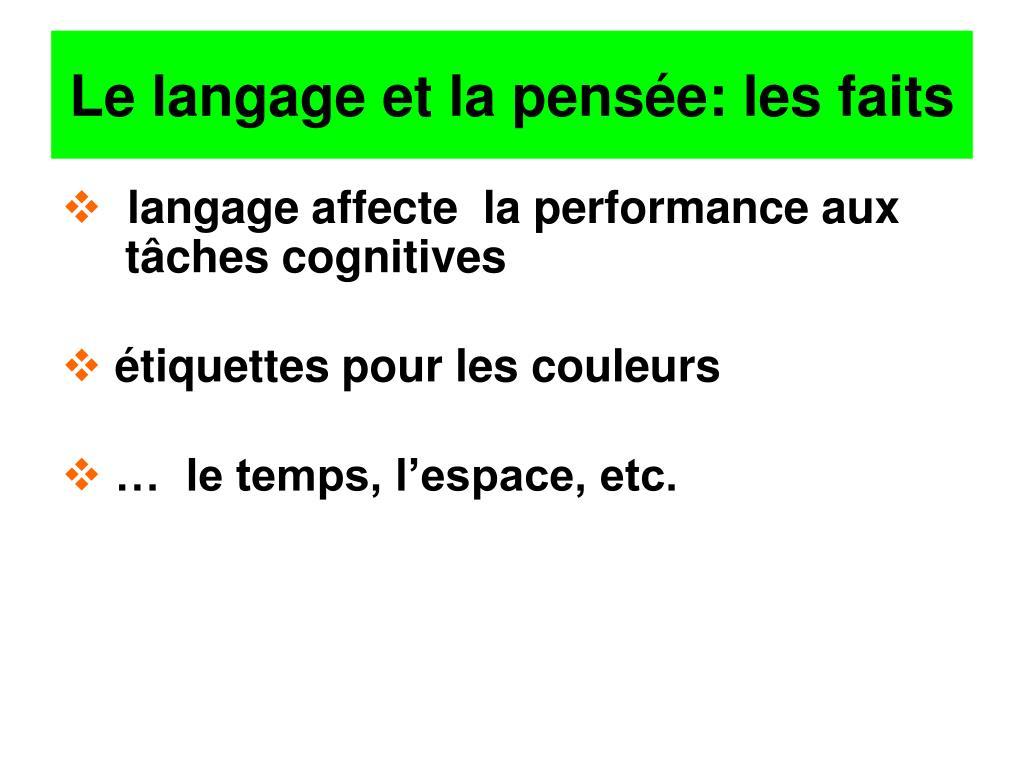 Le langage et la pensée: les faits