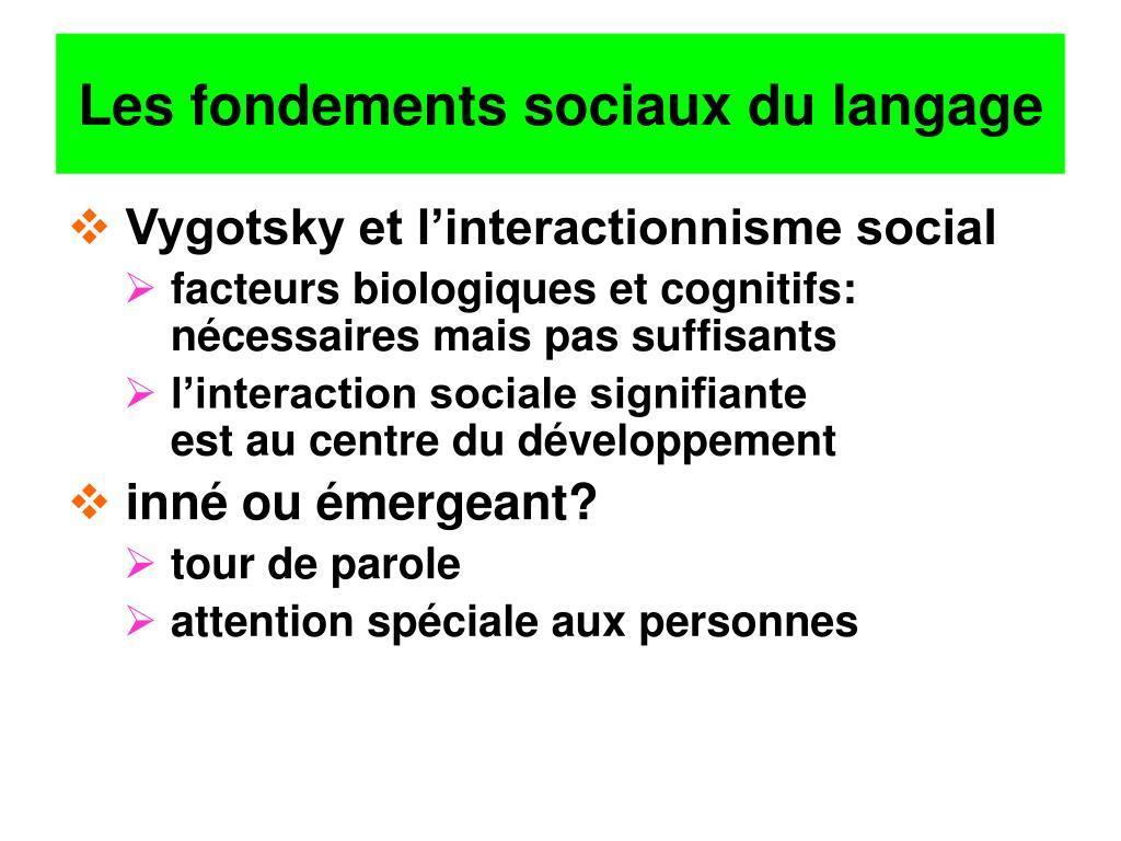 Les fondements sociaux du langage