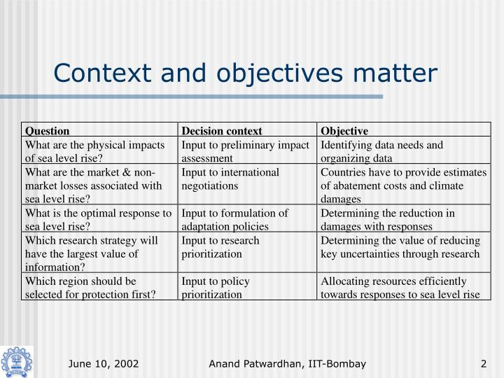 Context and objectives matter