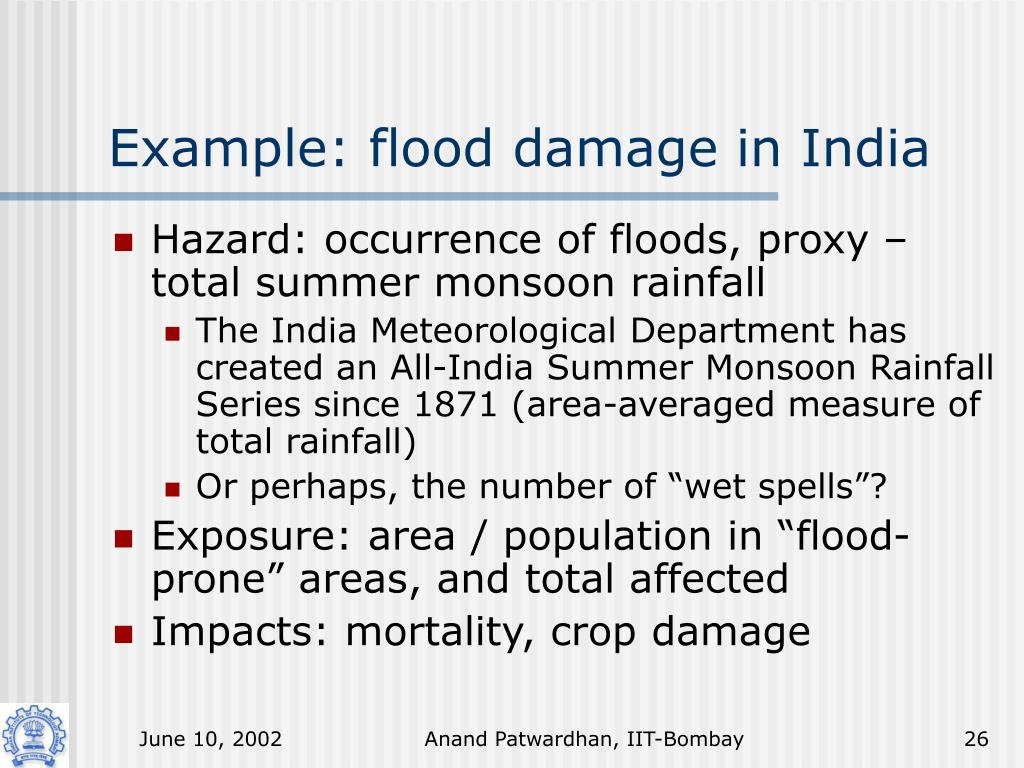 Example: flood damage in India