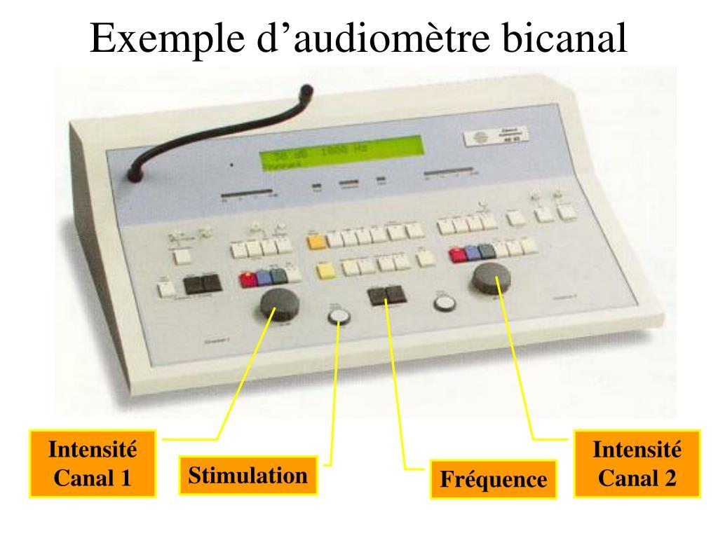Exemple d'audiomètre bicanal