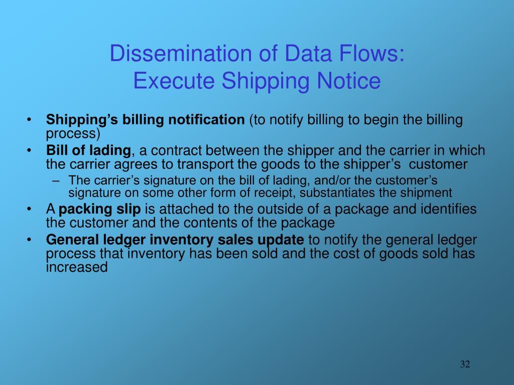 Dissemination of Data Flows: