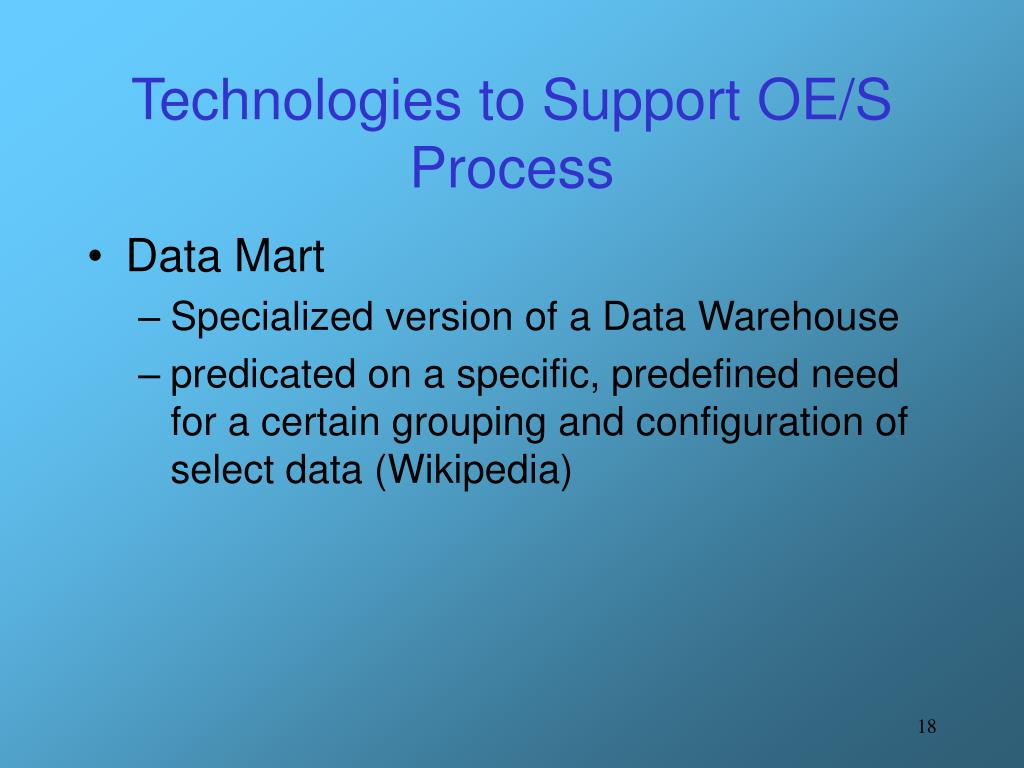 Technologies to Support OE/S Process