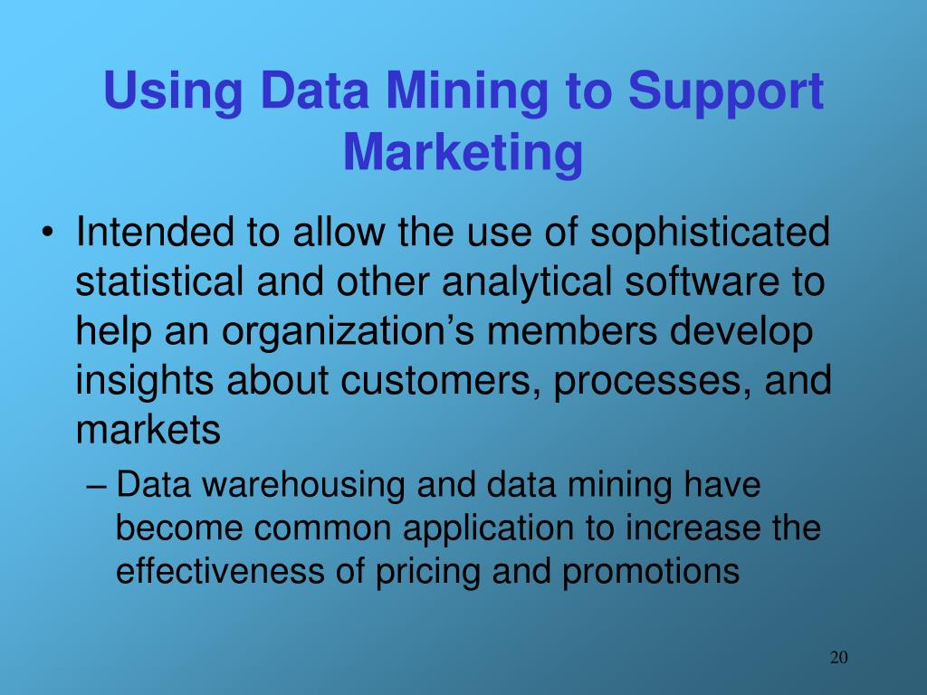 Using Data Mining to Support Marketing