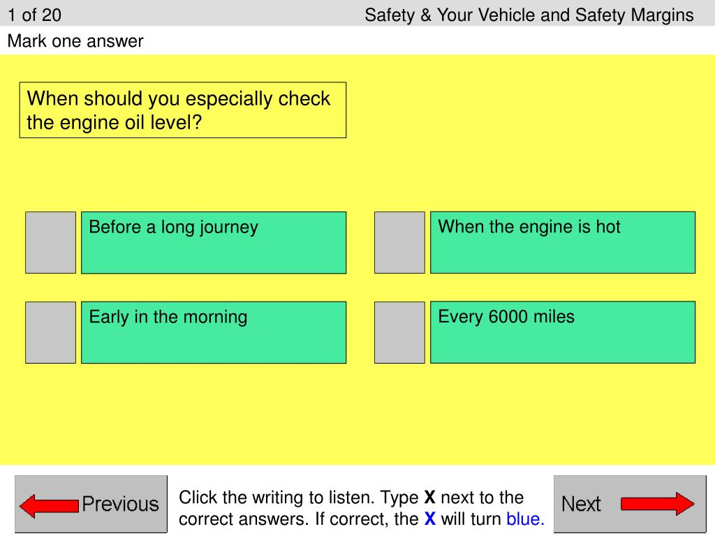 1 of 20					Safety & Your Vehicle and Safety Margins