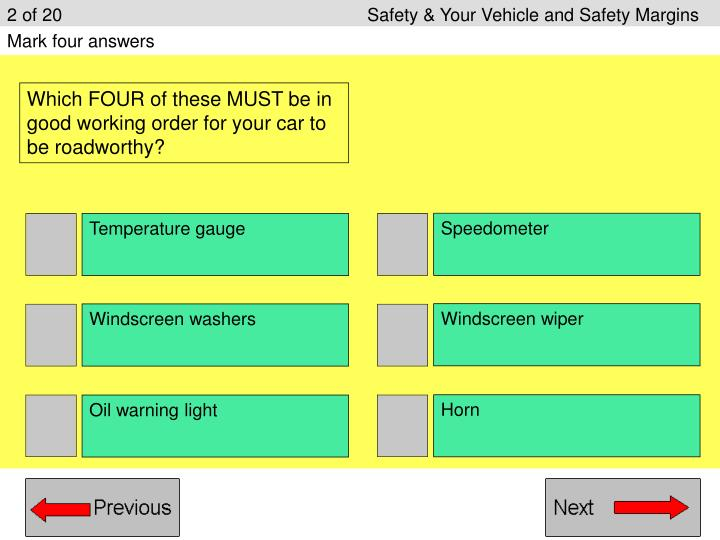 2 of 20					Safety & Your Vehicle and Safety Margins