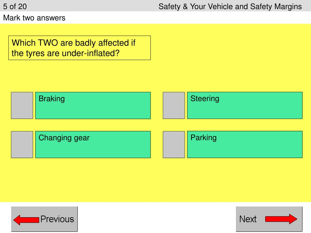 5 of 20					Safety & Your Vehicle and Safety Margins