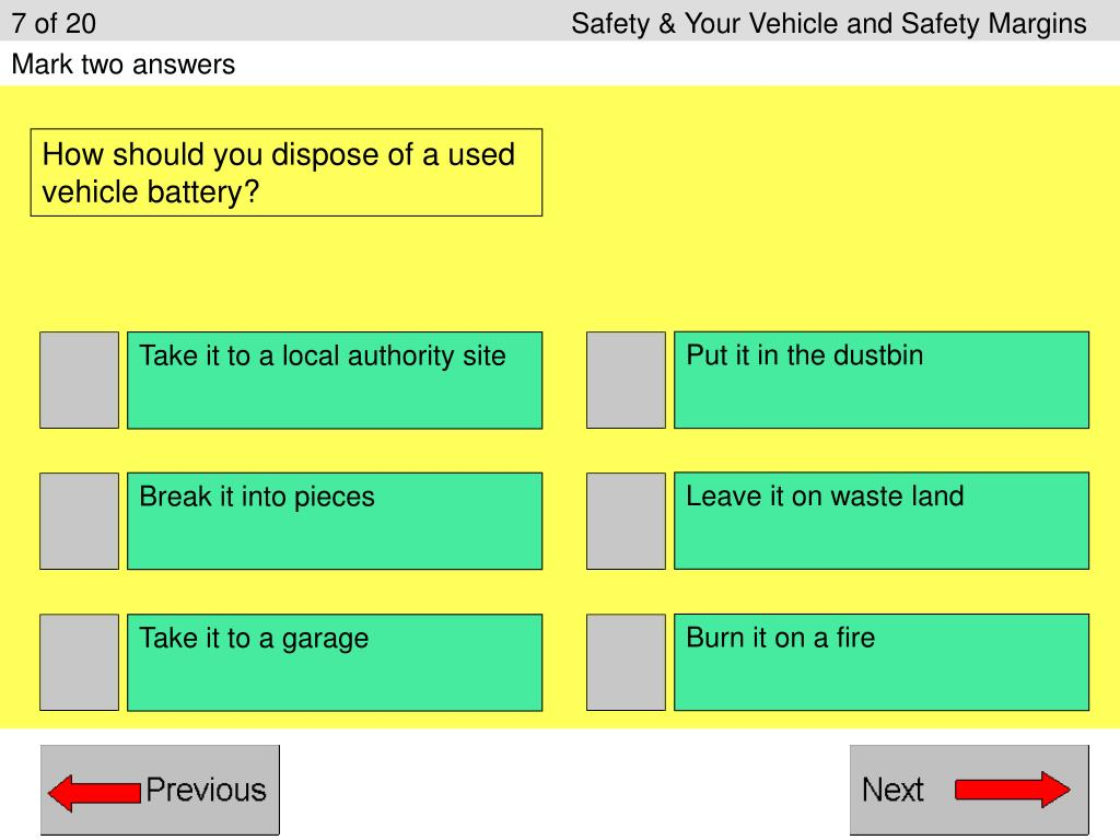 7 of 20					Safety & Your Vehicle and Safety Margins