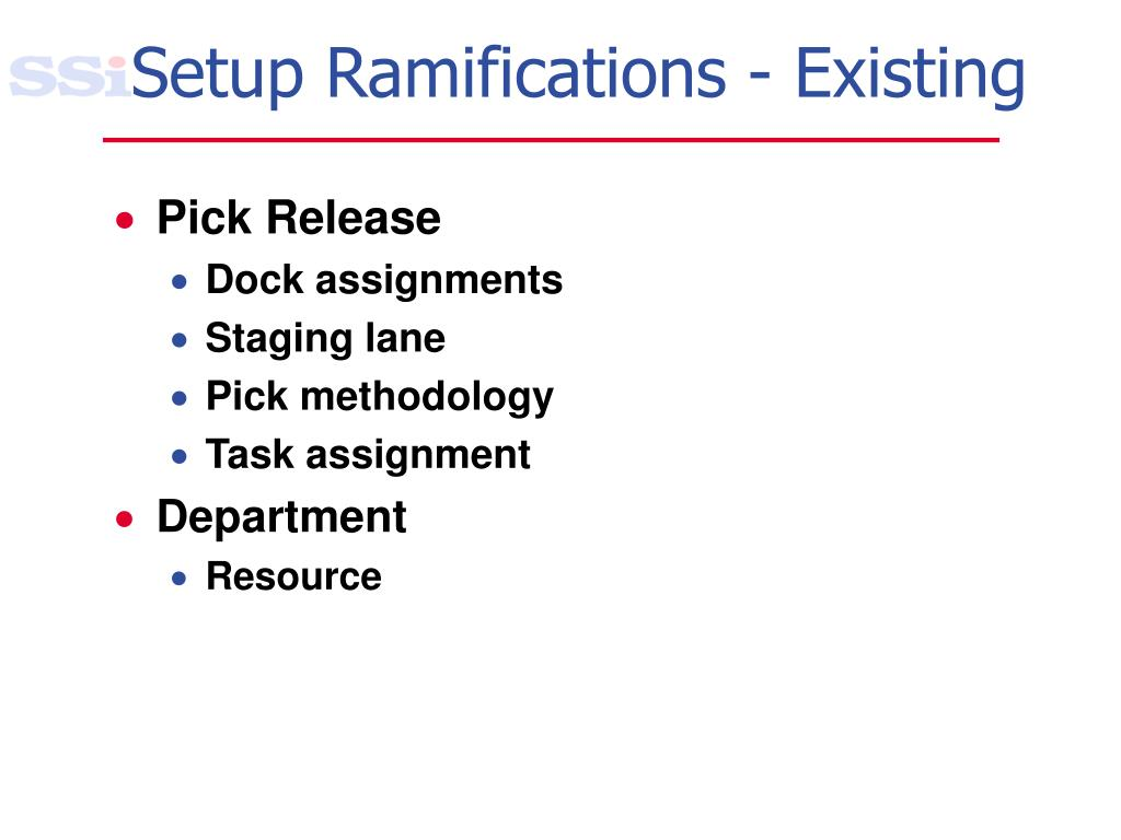 Setup Ramifications - Existing