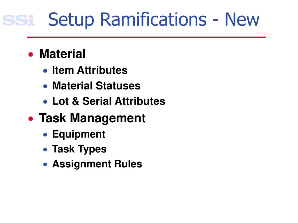 Setup Ramifications - New