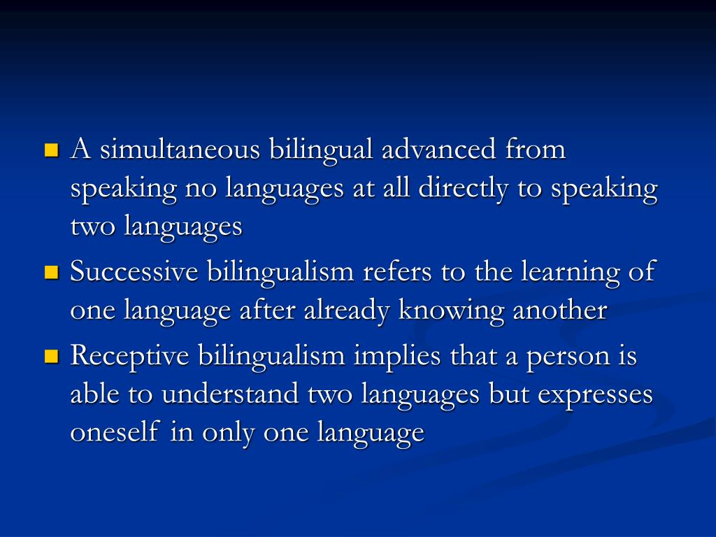 A simultaneous bilingual advanced from speaking no languages at all directly to speaking two languages