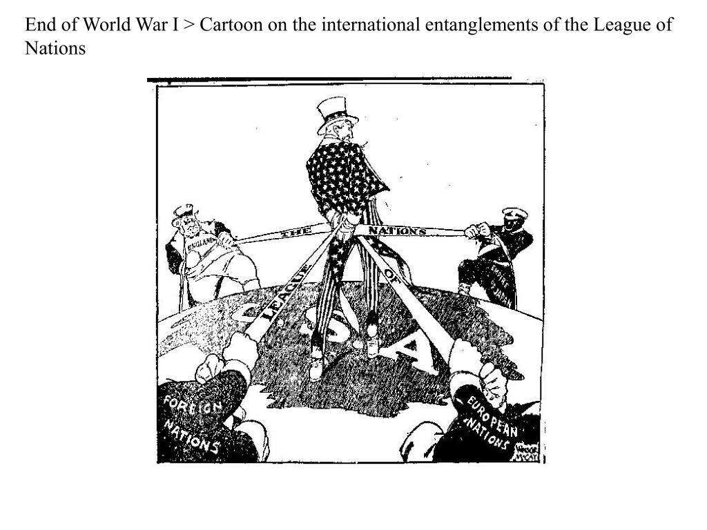 End of World War I > Cartoon on the international entanglements of the League of Nations