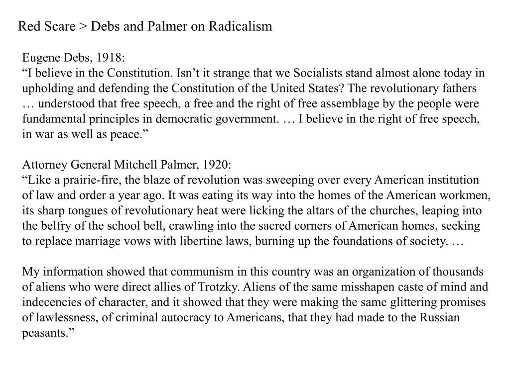Red Scare > Debs and Palmer on Radicalism
