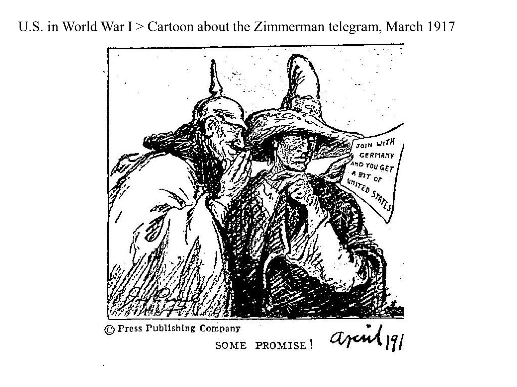 U.S. in World War I > Cartoon about the Zimmerman telegram, March 1917