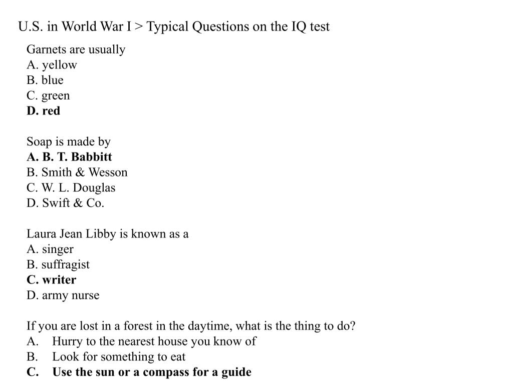 U.S. in World War I > Typical Questions on the IQ test