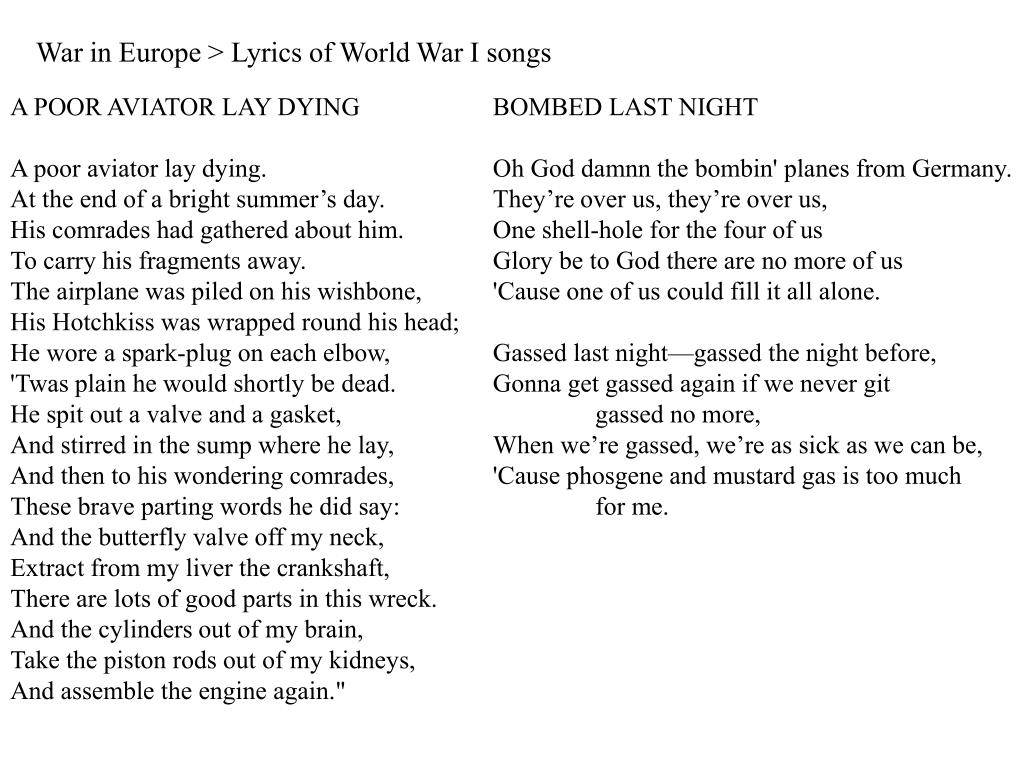 War in Europe > Lyrics of World War I songs