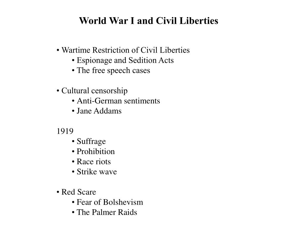 World War I and Civil Liberties