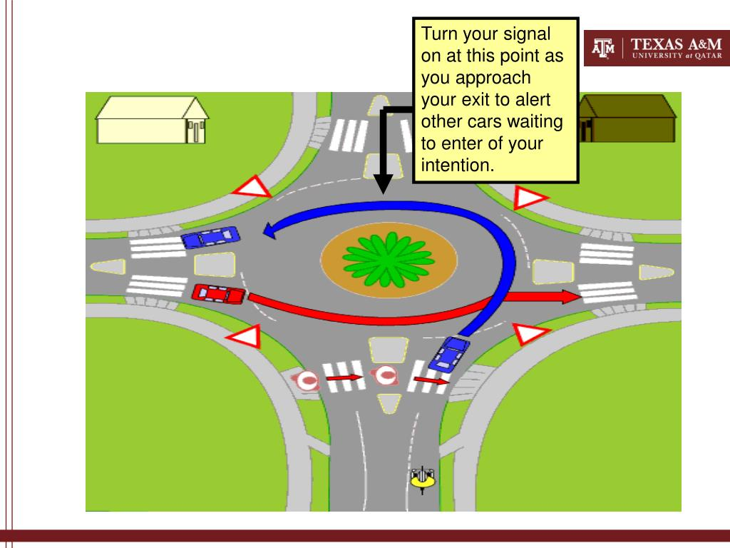 Turn your signal on at this point as you approach your exit to alert other cars waiting to enter of your intention.
