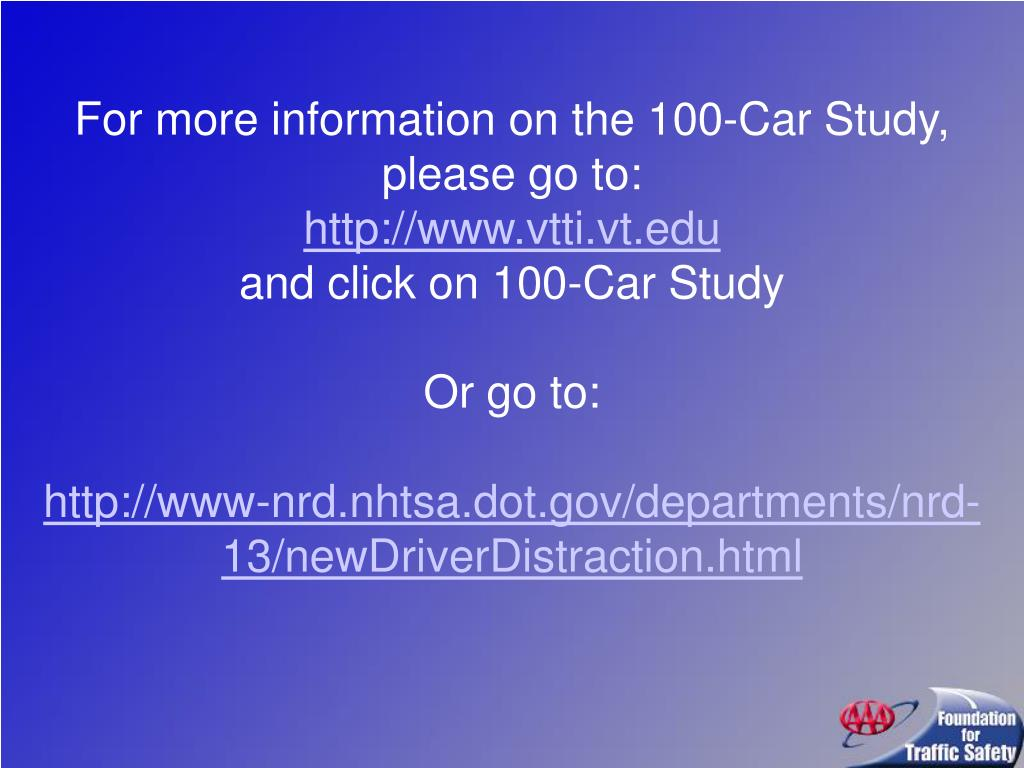 For more information on the 100-Car Study, please go to: