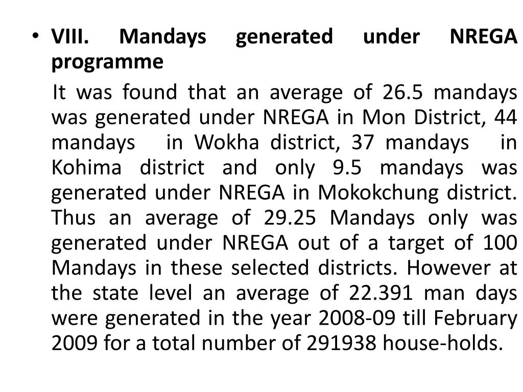 VIII. Mandays generated under NREGA programme