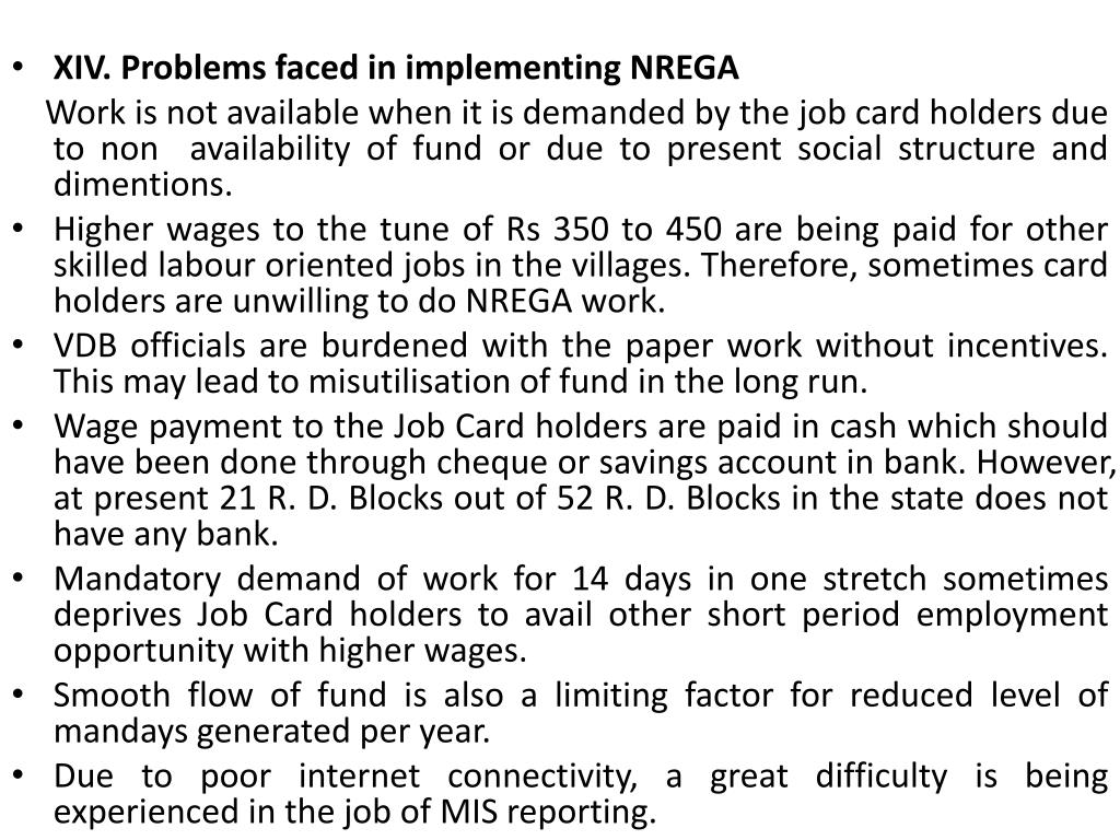 XIV. Problems faced in implementing NREGA